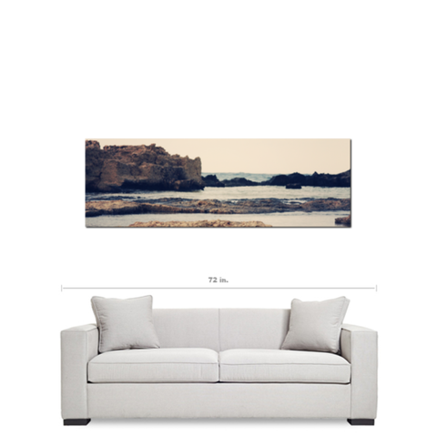 Rocky Coast - Mediterranean Decor - Panoramic Canvas - Stone Cliffs - Sea View - Clear Hazy - Large Canvas - 20 x 60 Canvas - Sylvia Coomes