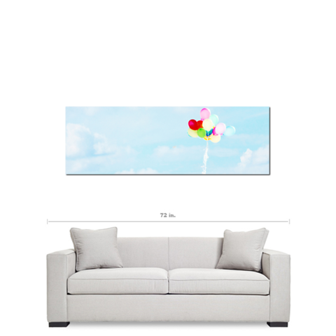 Nursery Canvas - Panoramic Wall Art - Panoramic Canvas - Balloons - baby blue sky - Gallery Wrapped Canvas - balloon Photo - 20 x 60 Canvas - Sylvia Coomes