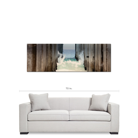 Under the Boardwalk - Ocean Print - Geometric Photo - Panoramic Canvas - California Canvas - Beach Canvas - Large Canvas - 20 x 60 Canvas - Sylvia Coomes