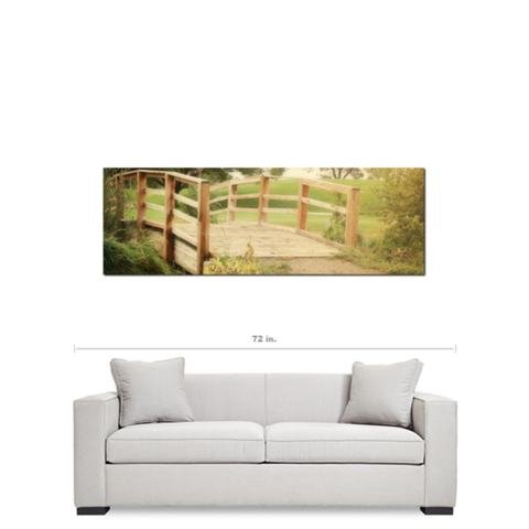 Bridge Canvas - Cottage Chic Decor - Panoramic Canvas - Green and Brown Art - Large Canvas - Nature Canvas - 20 x 60 Canvas