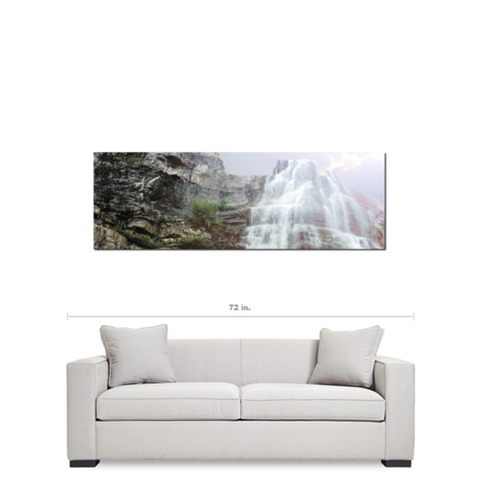 Panoramic Wall Art - 20 x 60 Canvas - Panoramic Canvas - Waterfall Canvas - Landscape Canvas - Gallery Wrapped Canvas - Purple Sky Photo - Sylvia Coomes