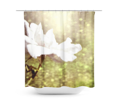 Glittering White Rose Shower Curtain - Sylvia Coomes