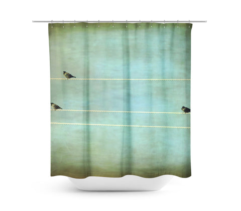 Gothic Birds on a Wire Shower Curtain | Sylvia Coomes