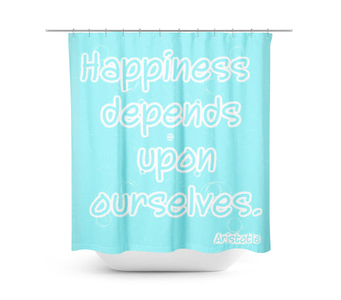 Happiness Aqua Shower Curtain - Sylvia Coomes