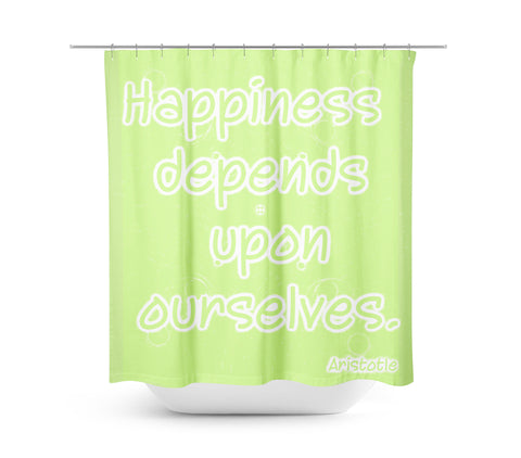 Happiness Lime Green Shower Curtain - Sylvia Coomes