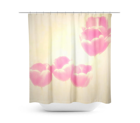 Hazy Pink Tulips Shower Curtain - Sylvia Coomes