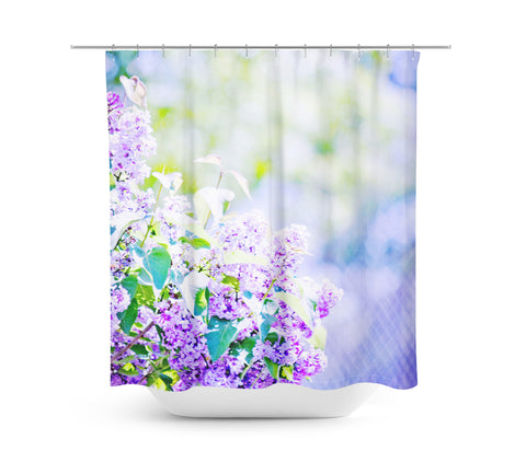 Hazy Purple Flowers Shower Curtain - Sylvia Coomes