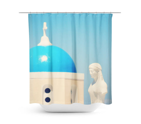 In Santorini 3 Shower Curtain - Sylvia Coomes