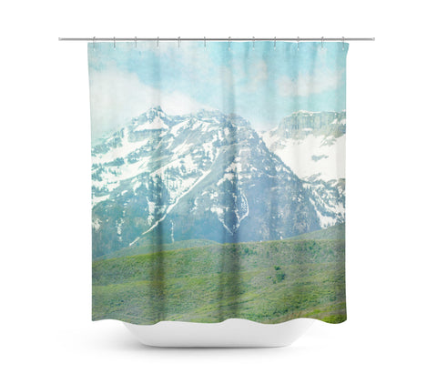 Pastel Mountains Shower Curtain - Sylvia Coomes