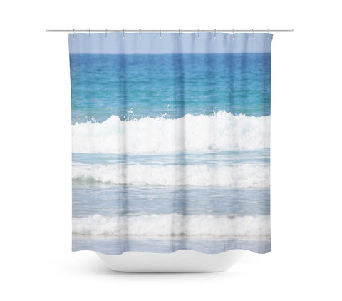 Rolling Waves 1 Shower Curtain - Sylvia Coomes