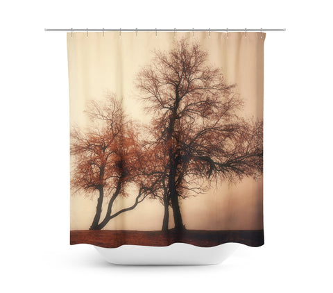 Rust Trees Shower Curtain - Sylvia Coomes