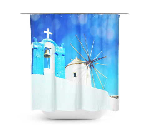 Santorini 1 Shower Curtain - Sylvia Coomes