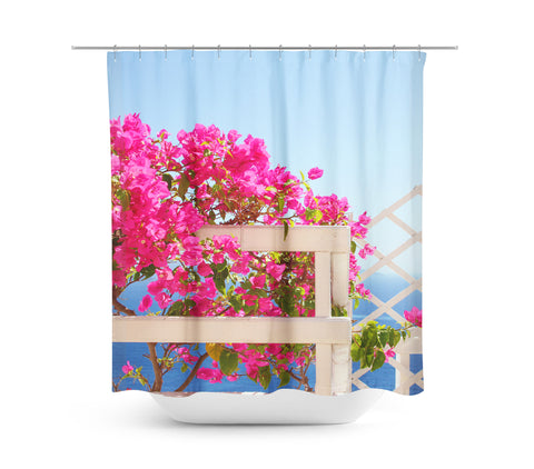 Santorini Blooms Shower Curtain - Sylvia Coomes