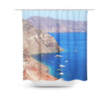 Santorini Coastline Shower Curtain - Sylvia Coomes