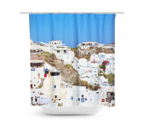 Santorini House 2 Shower Curtain - Sylvia Coomes