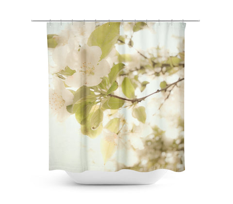Soft White Flowers Shower Curtain - Sylvia Coomes