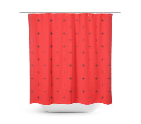 Swiss Cross Bright Red Shower Curtain - Sylvia Coomes