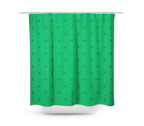 Swiss Cross Green Shower Curtain - Sylvia Coomes