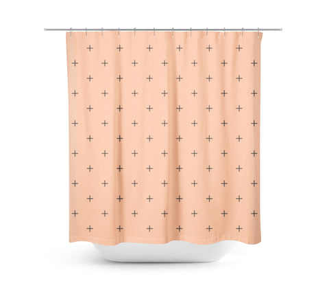 Swiss Cross Peach Shower Curtain - Sylvia Coomes