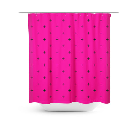 Swiss Cross Rubine Red Shower Curtain - Sylvia Coomes