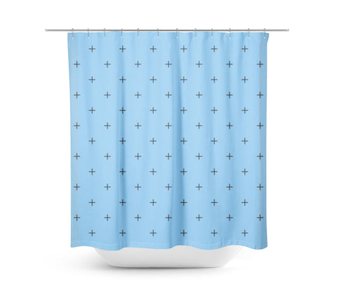 Swiss Cross Sky Blue Shower Curtain - Sylvia Coomes