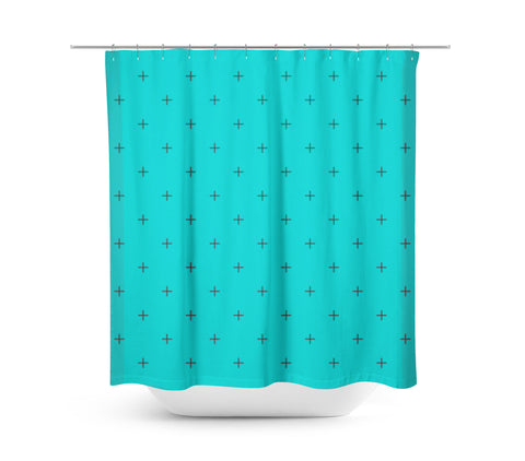 Swiss Cross Turquoise Shower Curtain - Sylvia Coomes