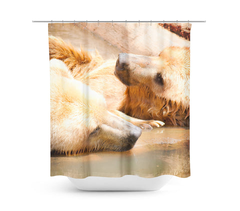 Two Bears Shower Curtain - Sylvia Coomes