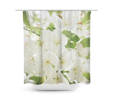 White Flowers Shower Curtain - Sylvia Coomes
