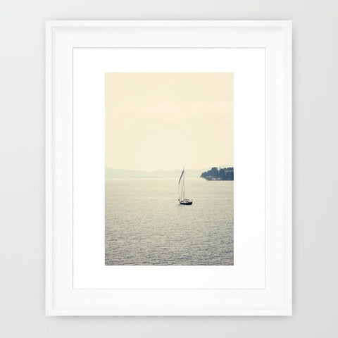 Sailboat Photography - Minimalist Photo - Nautical Photograph - Blue and Tan - Mediterranean Sea - Nautical Home Decor - Sylvia Coomes