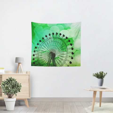 Green Ferris Wheel Tapestry - Sylvia Coomes