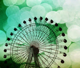 Green Blue Ferris Wheel Tapestry - Sylvia Coomes