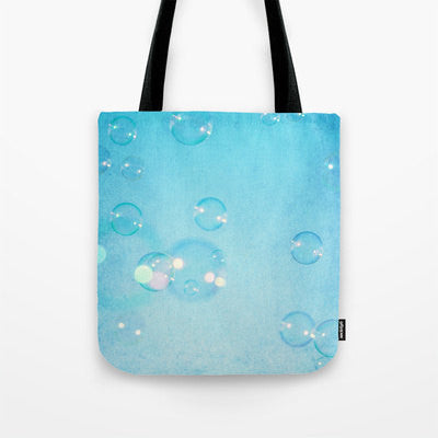 Art Tote beach Bag Blue Bubbles fine art photography summer Fashion photograph photo sky aqua bokeh geometric circles ethereal light bubble - Sylvia Coomes