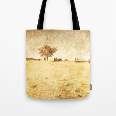 Art Tote beach bag Alone fine art photography nature photograph yellow tones tan photo minimalist summer fashion one tree rural country - Sylvia Coomes