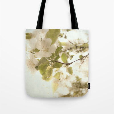 Art Tote beach Bag Soft White Flowers photography Fashion photograph photo ethereal light nature green leaves cream floral abstract branches - Sylvia Coomes