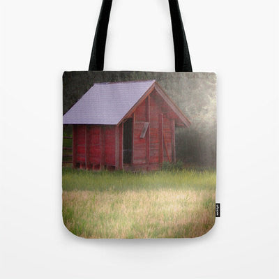Art Tote beach Bag Country Glimmer photography Fashion photograph photo red shack barn rural olive green grass ethereal light yellow gold - Sylvia Coomes