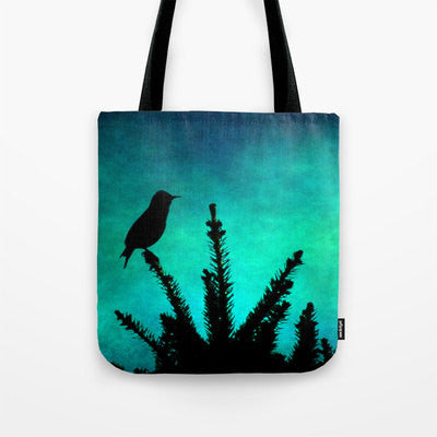 Teal Bird Silhouette fine art photography Tote Beach Bag Modern photograph Aqua blue green texture black tree silhouette texture colorful - Sylvia Coomes