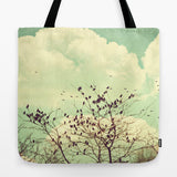 Art Tote beach bag Birds of a Feather photography Tote Bag mint green sky nature photograph bird brown tree branches vintage style photo - Sylvia Coomes