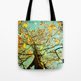 Art Tote beach bag A Different Perspective art photography nature photograph mustard yellow abstract tree photo summer fashion aqua blue - Sylvia Coomes
