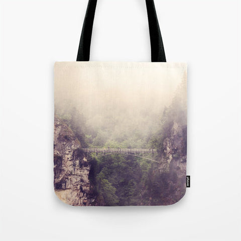 Art Tote Beach Bag Breathtaking photography Ethereal foggy gray Bridge green forest nature woodland mountains hazy purple tones fashion