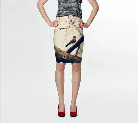 Women's Art Fitted Skirt Robin Red Breast fine art photography Fashion - Sylvia Coomes