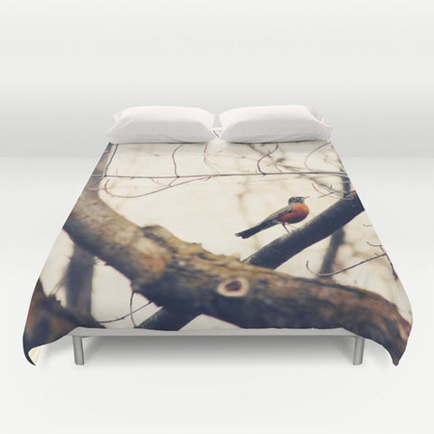 Art Duvet Cover Robin Red Breast fine art photography home decor