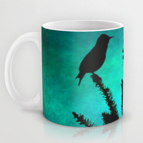 Art Coffee Cup Mug Teal Bird Silhouette fine art photography home decor - Sylvia Coomes