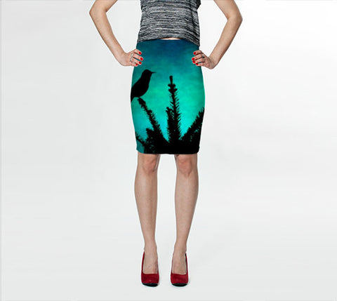 Women's Art Fitted Skirt Teal Bird Silhouette fine art photography Fashion