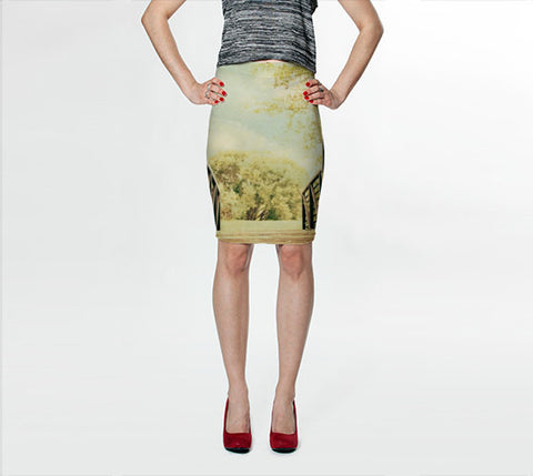 Women's Art Fitted Skirt Bridge to Paradise fine art photography Fashion - Sylvia Coomes