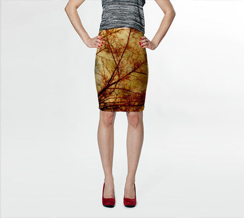 Women's Art Fitted Skirt Gothic Red Trees fine art photography Fashion - Sylvia Coomes