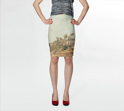 Women's Art Fitted Skirt West Coast 1 fine art photography Fashion