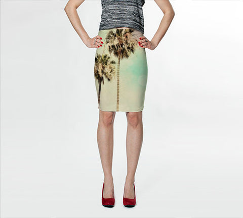 Women's Art Fitted Skirt Palm Trees 1 fine art photography Fashion