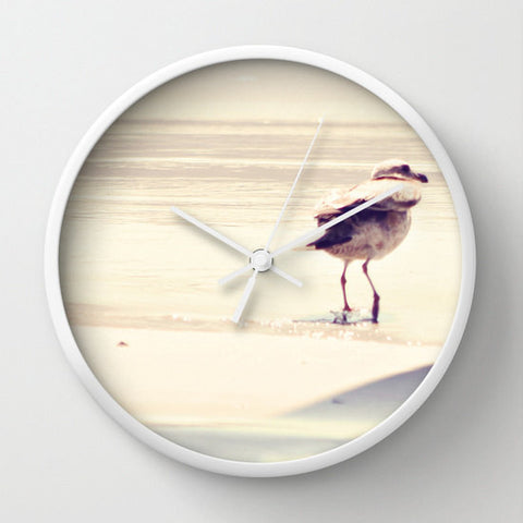 Art Wall Clock Bird at the Beach fine art photography home decor - Sylvia Coomes