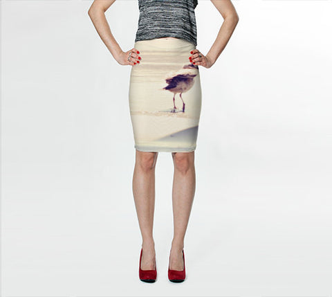 Women's Art Fitted Skirt Bird at the Beach fine art photography Fashion