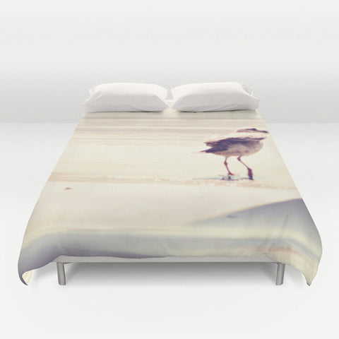 Art Duvet Cover Bird at the Beach fine art photography home decor - Sylvia Coomes